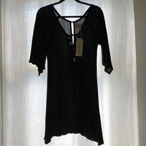 Cleobella Black Dress Plunge Neckline